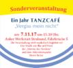 """Ein Jahr TANZCAFÉ """"Vergiss Mein Nicht"""" Flyer"""