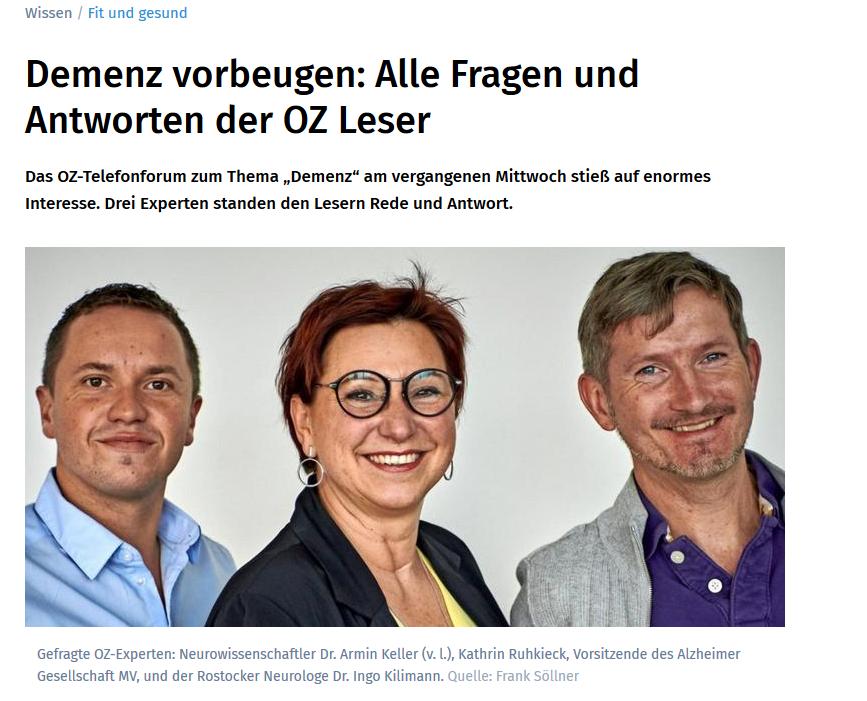 Telefonforum Demenz Mit Der Ostsee-Zeitung