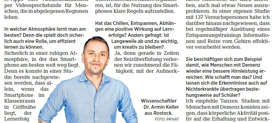 Interview Mit Der Ostsee-Zeitung über Digitales Lernen Und Demenzprävention