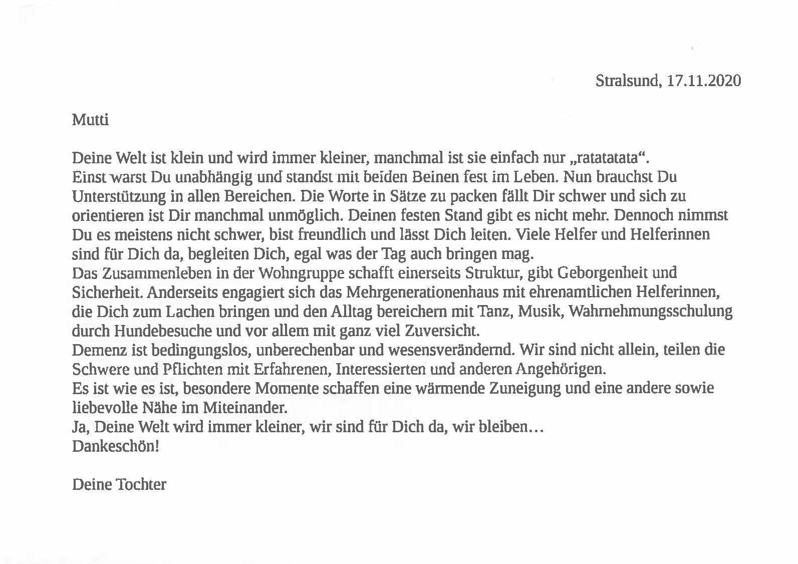 Stralsund_Brief einer Tochter